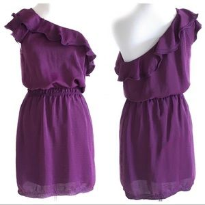 Max Studio purple asymmetrical dress deep plum sm